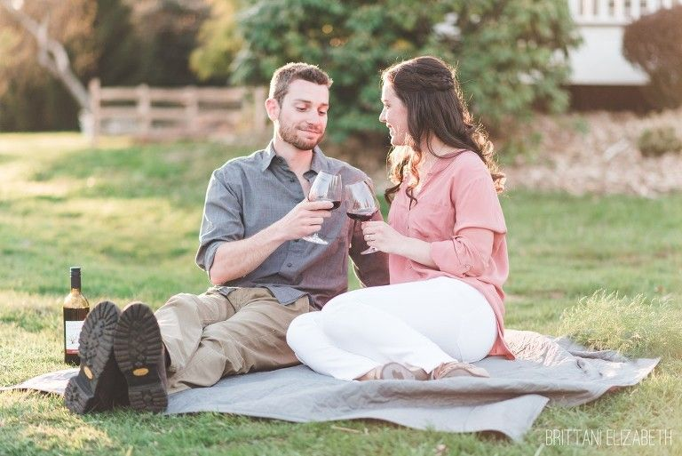 Toasting Our Future | Wine Picnic | Springtime Engagement | Ash Mill Farm Engagement