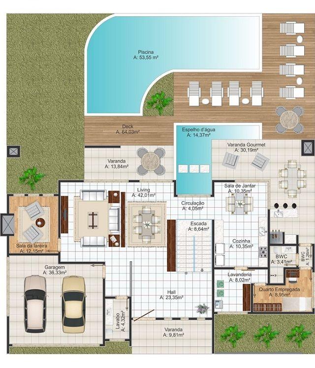 Plano de casa de 438 m2 arquitectura planos de casas for Casa moderna de 50 m2