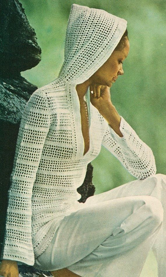 70s INSTANT PDF PATTERN Vintage Filet Mesh Lace Crochet Hooded ...