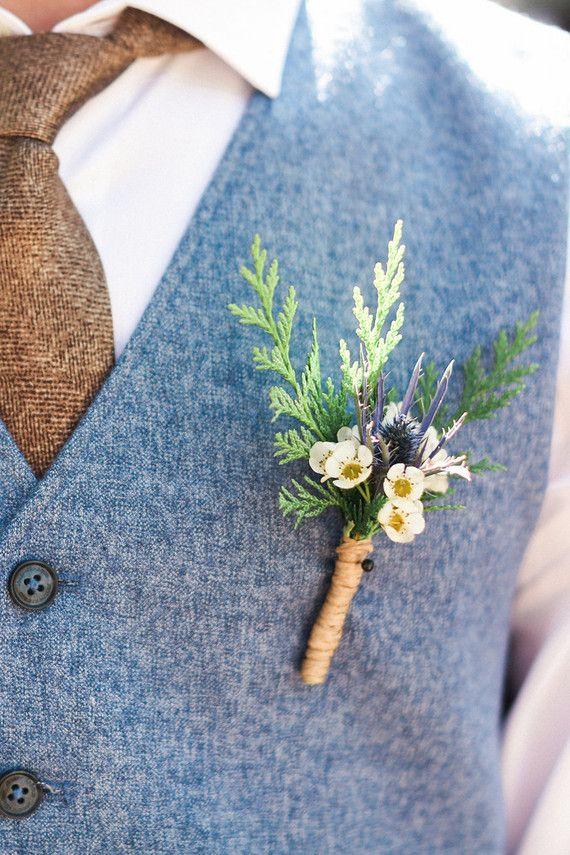 Wedding Flower Ideas For Groomsmen : Wildflower boutonni?re groom groomsmen