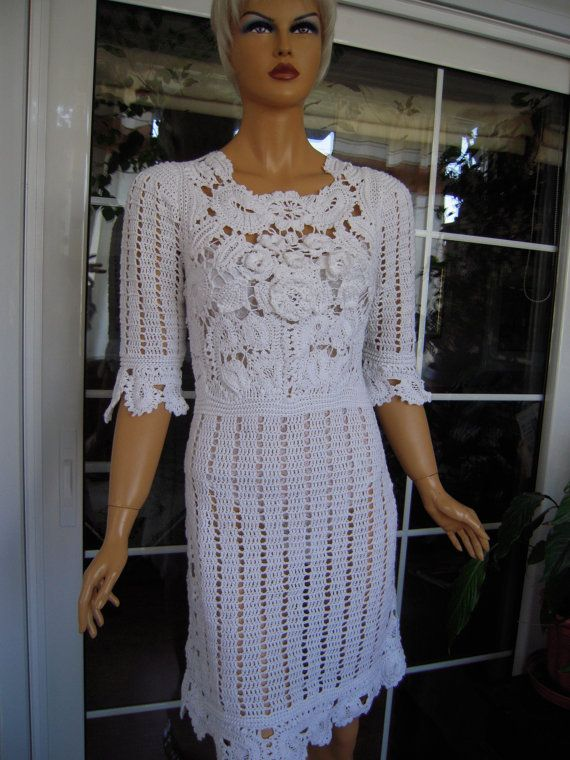 cotton wedding dress handmade crochet cotton romantic lace dress with flowers gift idea for her OOAK by golden yarn #romanticlace with a slip under it :-) Handmade crochet lace dress with flowers in white by GoldenYarn, $420.00 #romanticlace