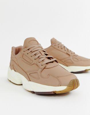 adidas Orignals Premium Leather Falcon sneakers in beige ...