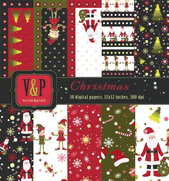 Christmas Printable Paper Pack Xmas Digital Backgrounds Winter