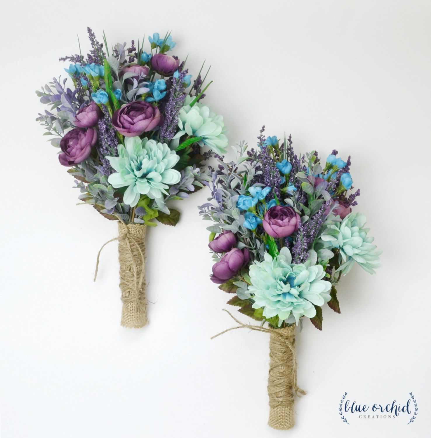 Wildflower Bouquet Lavender Bouquet Turquoise Teal Purple Boho Wedding Bouquet Bridesmaid Bo Fall Wedding Bouquets Teal Rustic Wedding Wildflower Bouquet