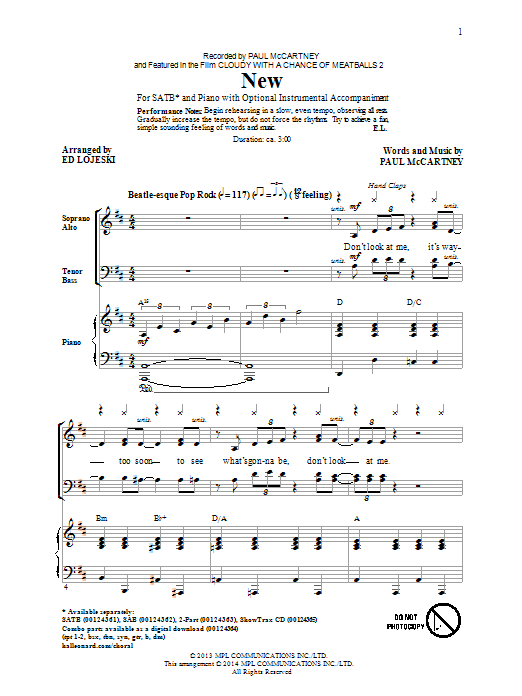 Paul McCartney: New (arr. Ed Lojeski) - Partition SATB - Plus de 70.000 partitions à imprimer !