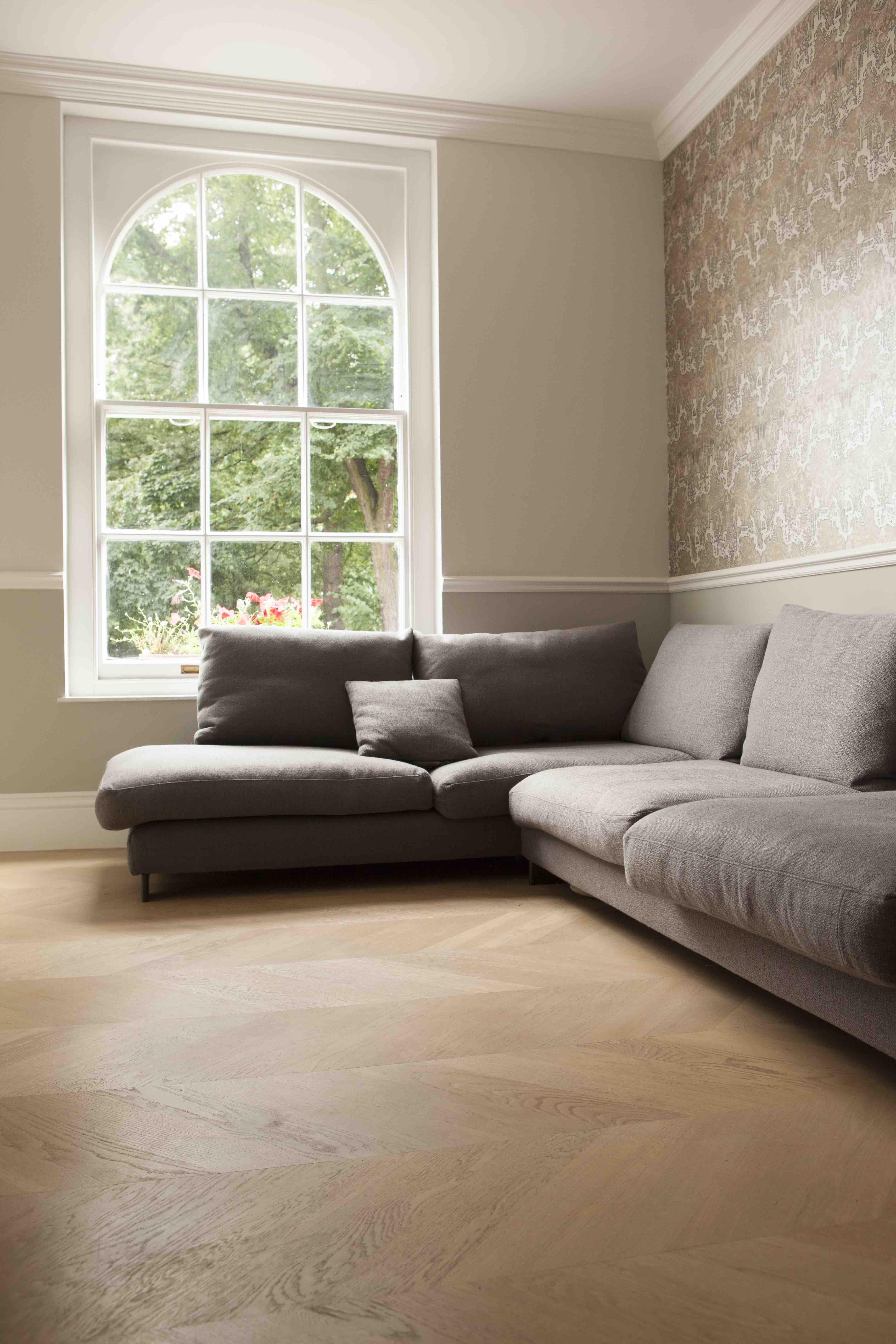 Our oak chevron flooring laid is a herringbone design