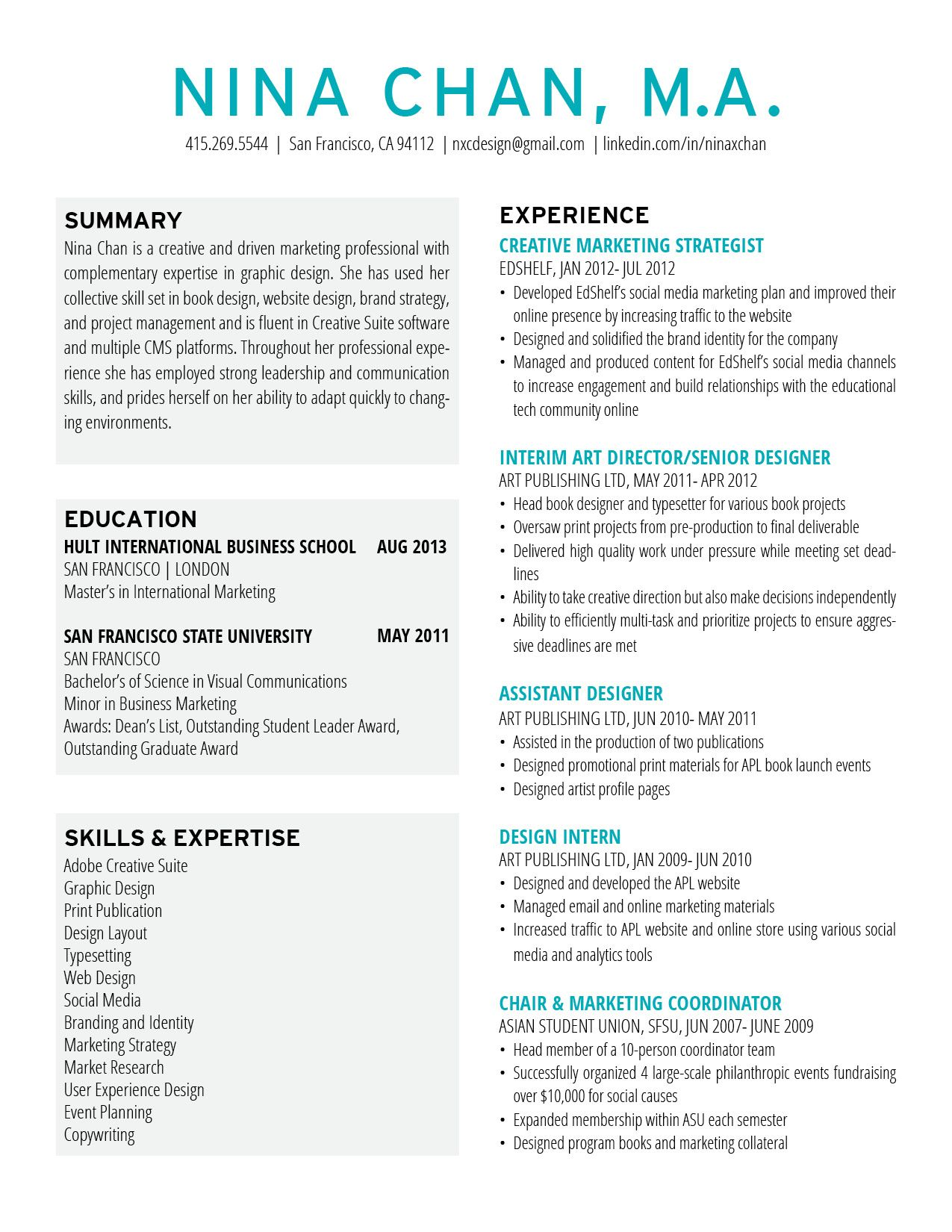Ninachan Resume Design Marketing Resume Resumedesign Layout