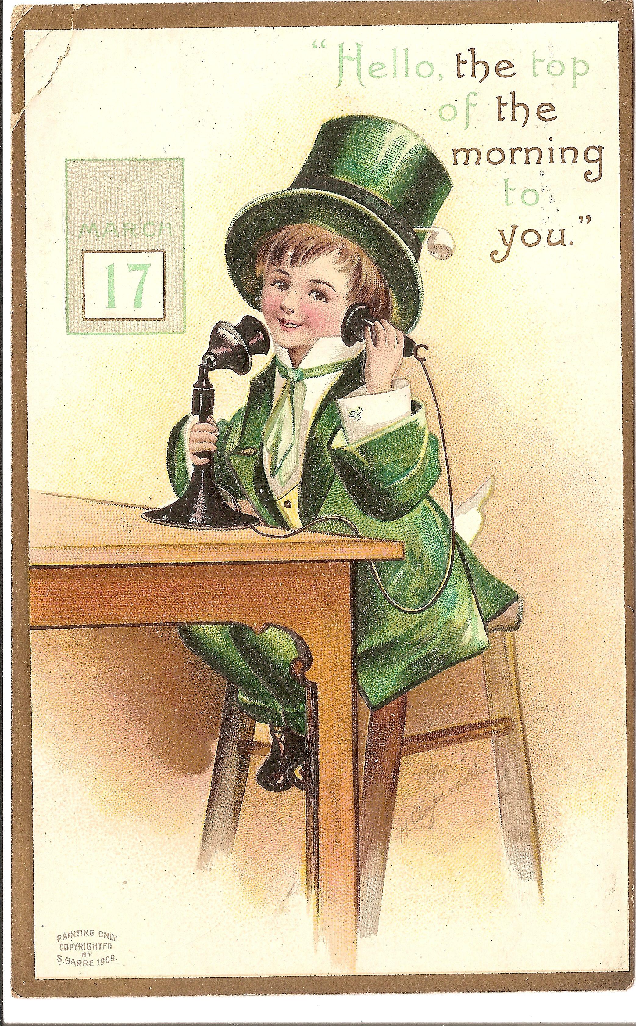Leprechaun Sends Spring Greetings A Vintage Postcard For Wordless
