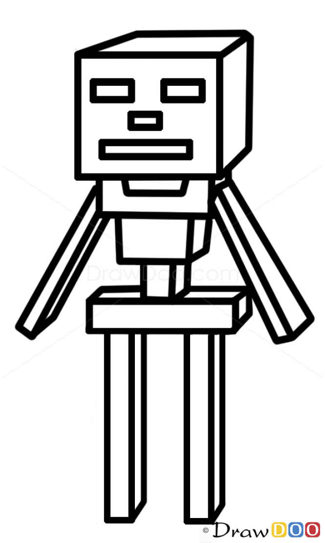Lovely How To Draw Skeleton, Minecraft PRO