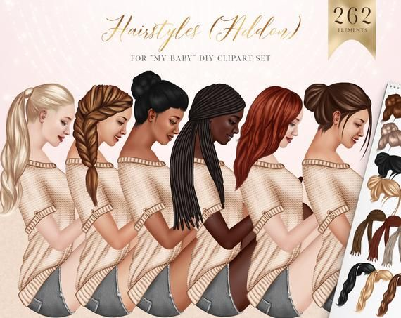 Photo of Female Hairstyles Addon Clipart, African American Hair, Asian Hair PNG, Long Hairstyles, Sublimation