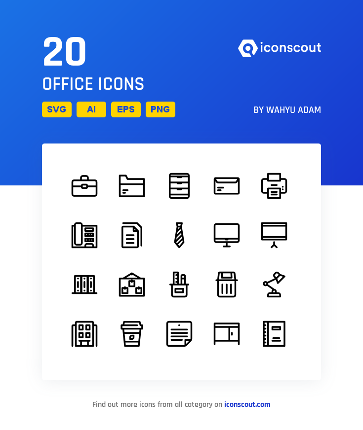 Download Office Icon Pack - 20 Line Icons | Office icon, Icon, Icon ...