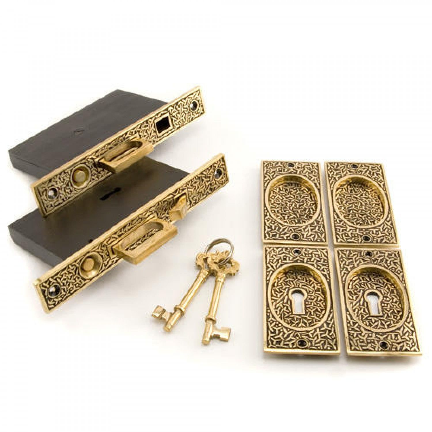 Rice Pattern Double Pocket Door Mortise Lock Privacy Blackened