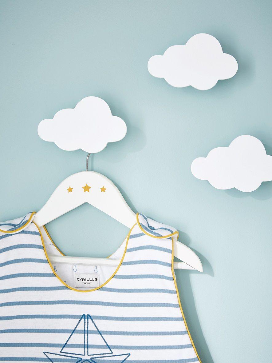 3 portemanteaux en forme de nuage pour d corer la chambre Deco chambre bebe nuage