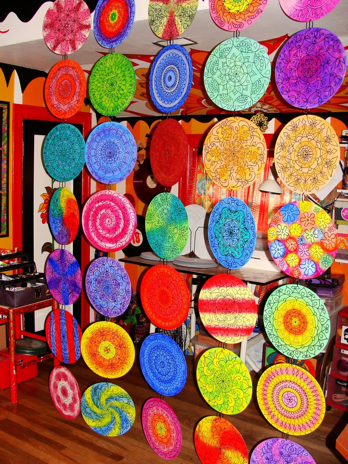 Custom mandala room divider made from 35 painted vinyl for Home decor recycled materials