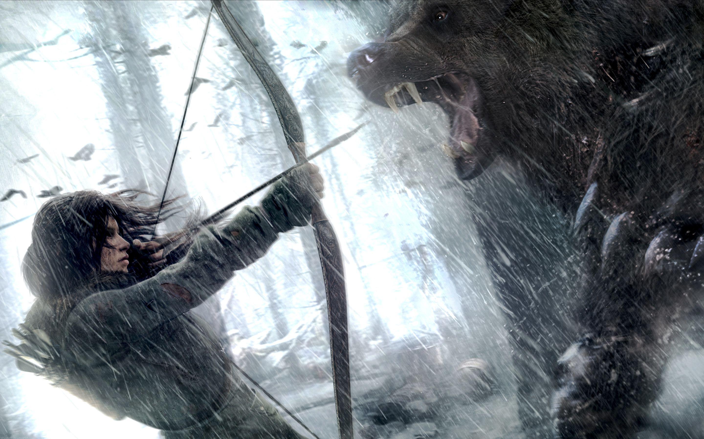 Обои lara croft, tomb raider, Медведь. Игры foto 14