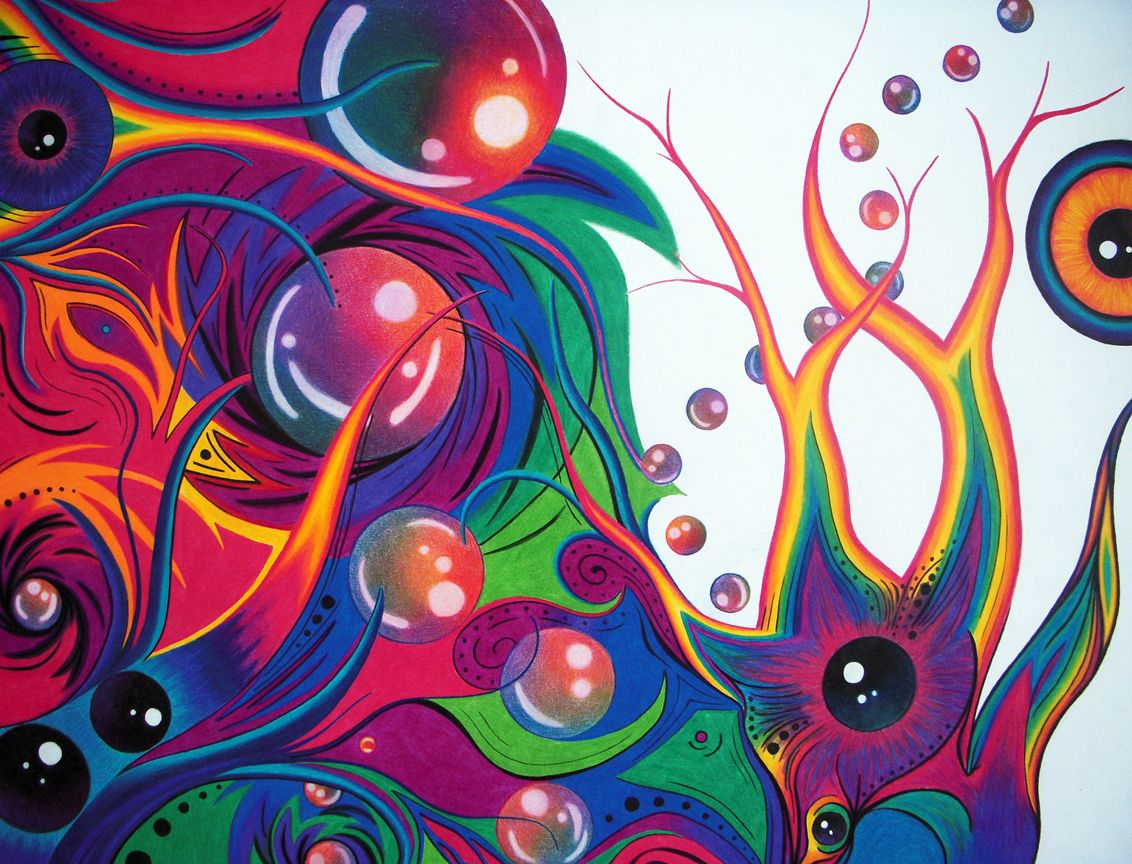 Abstract Colored Pencil Drawings