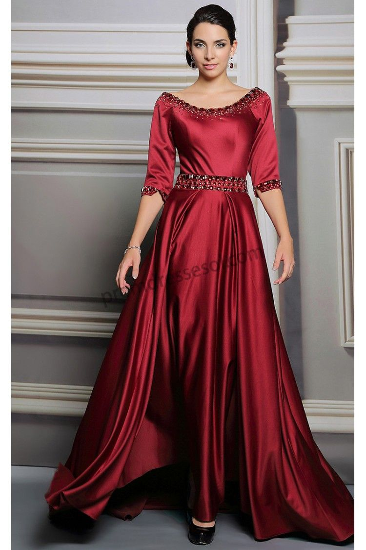 2015 Key Color Brandy Wine Half Sleeves Train Formal Dress Sy260 Satin Evening Dresses Evening Dresses With Sleeves Mother Of The Bride Dresses [ 1125 x 750 Pixel ]