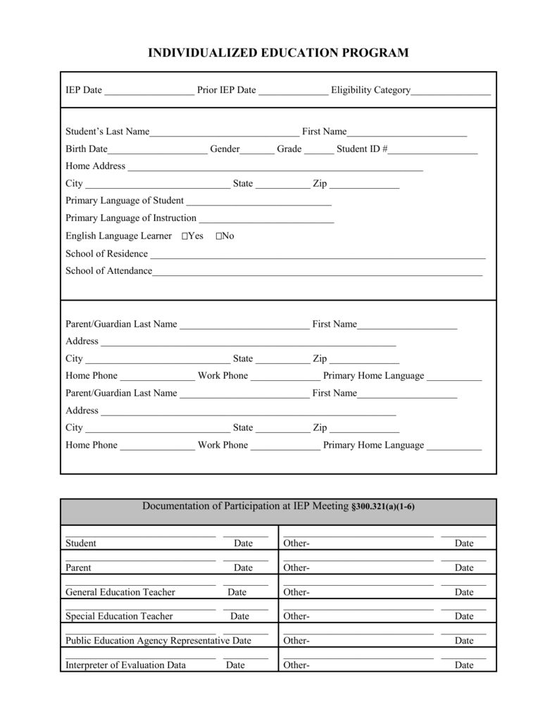 Blank Iep Form Pertaining To Blank Iep Template Best Sample Template Business Template Professional Templates Templates