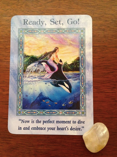 """4/2/15 - Today's card is the """"Ready, Set, Go!"""" card from Doreen Virtue's Magical Mermaids and Dolphins deck. Now is the perfect time to implement the plans and ideas you have been pondering. Know that the time is right and you'll be supported as you set forth on your endeavor.  Citrine will enhance the energy of this card.  Code HCPIN10 for 10% off your order  www.healingcrystals.com/advanced_search_result.php?dropdown=Search+Products...&keywords=citrine"""
