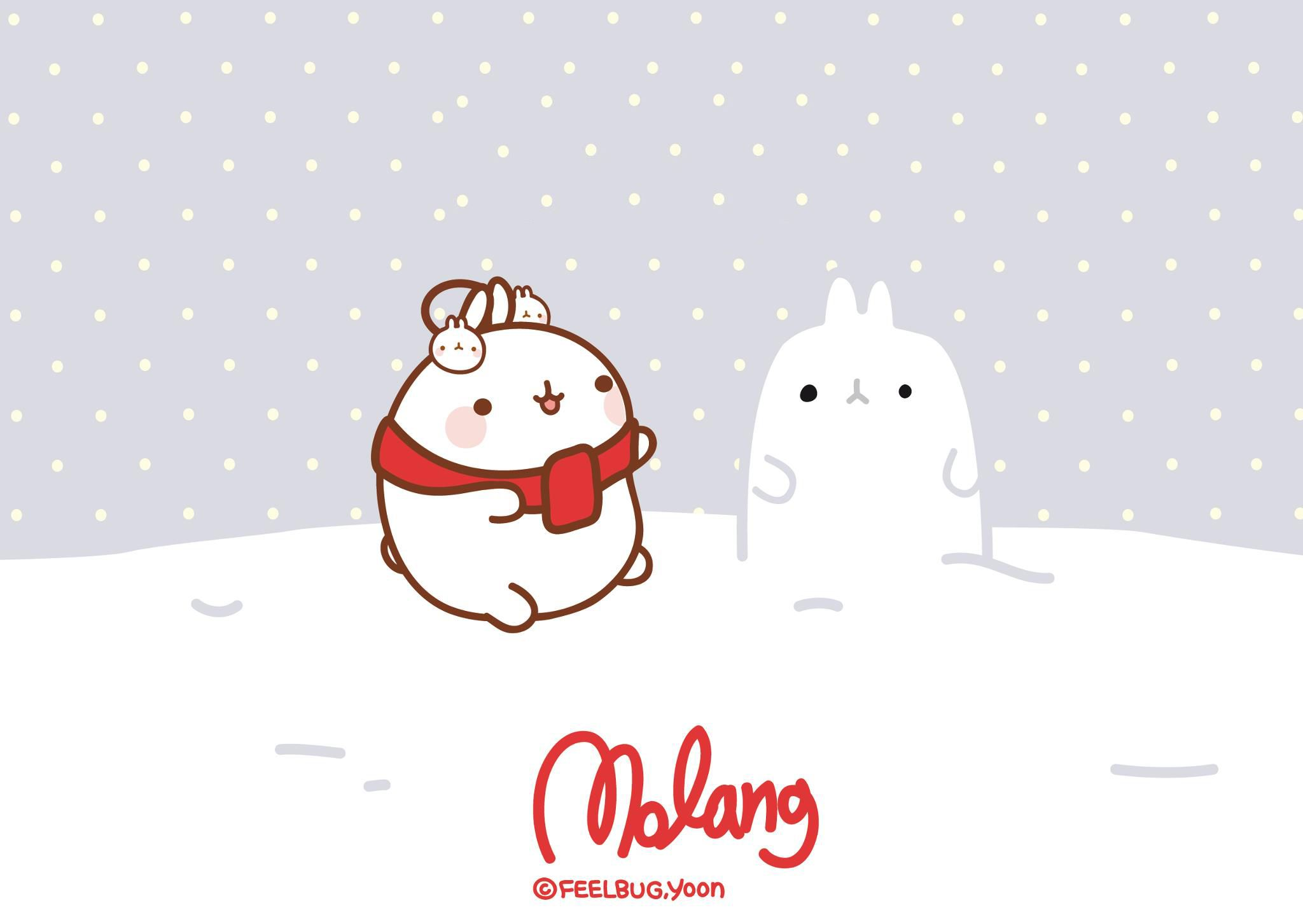 Wallpaper Navidad Molang By Leyfzalley On Deviantart Molang Wallpaper Molang Christmas Desktop Wallpaper