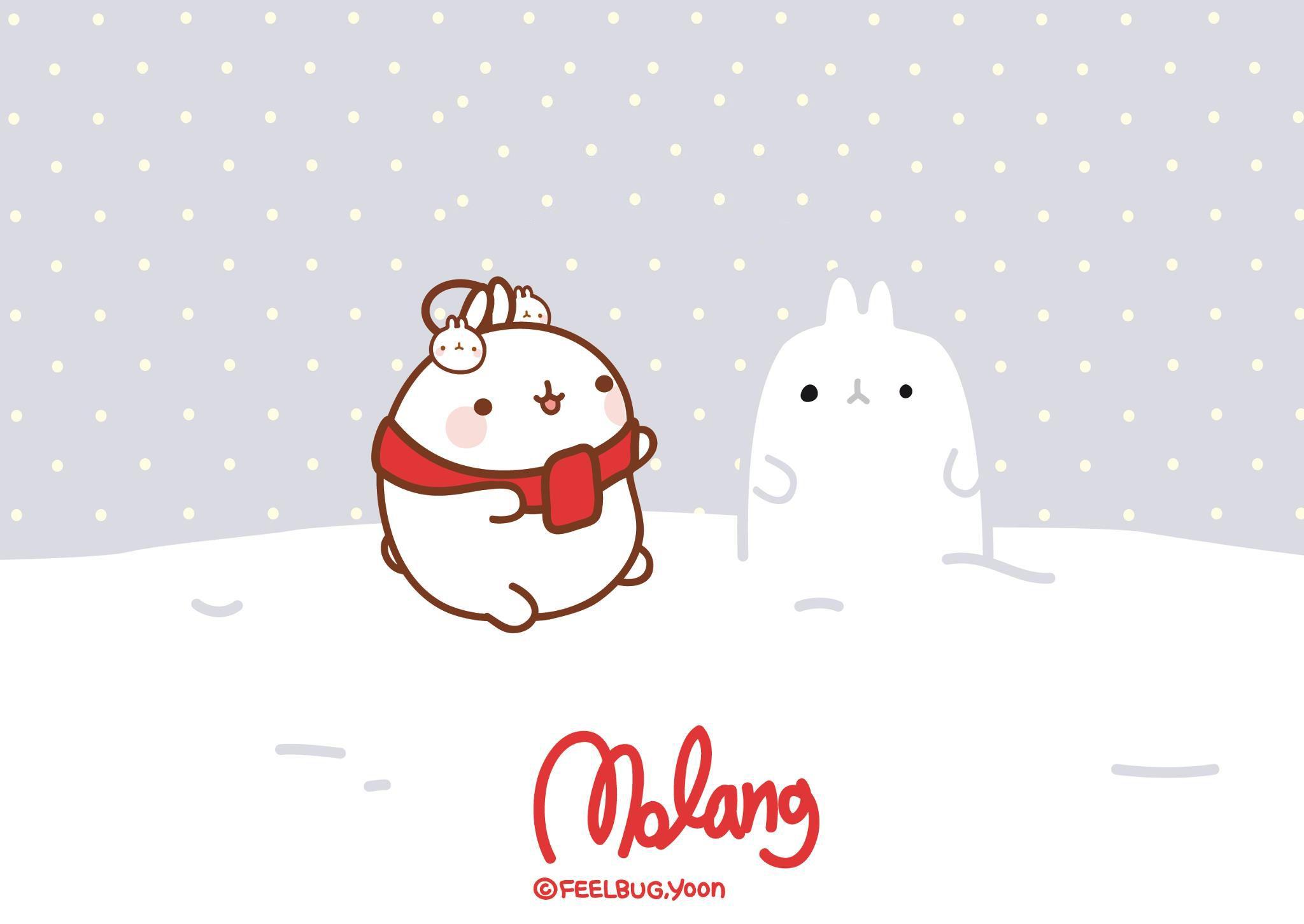 Wallpaper Navidad Molang By Leyfzalley On Deviantart Molang Wallpaper Molang Christmas Desktop Wallpaper
