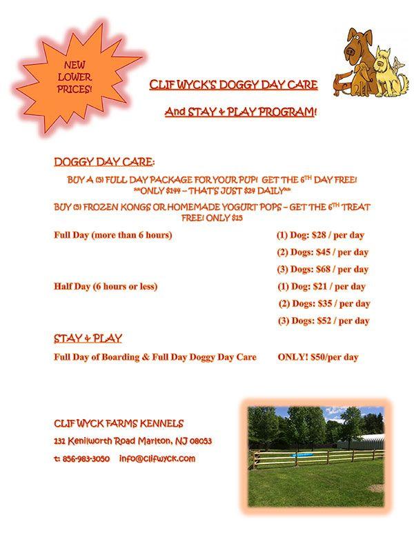 Clif Wyck Kennels Doggie Daycare Pricing Dog Daycare Daycare Prices Daycare Schedule