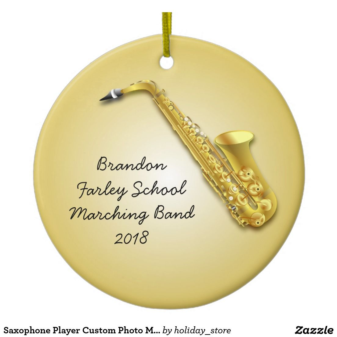 Musical christmas ornaments that play music - Saxophone Player Custom Photo Musicians Ornament