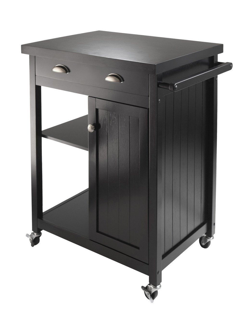 Classy Black Timber Urban Kitchen Cart With Wainscot Panel