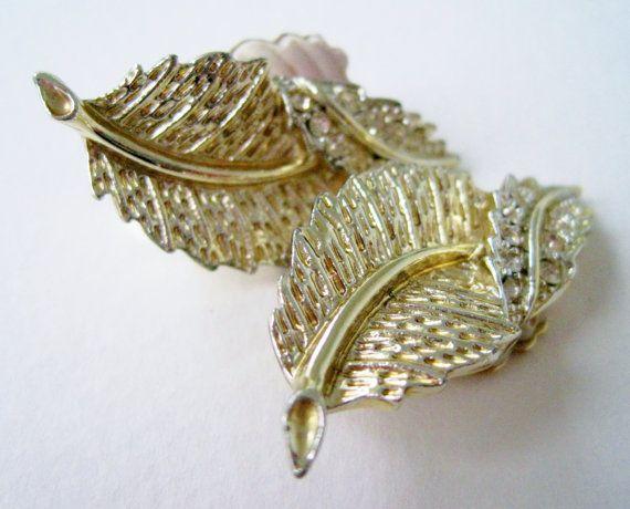 Vintage 70s Woodland Hollywood Regency Signed Sarah Coventry Goldtone Rhinestone Leaf Earrings  by ThePaisleyUnicorn, $5.00