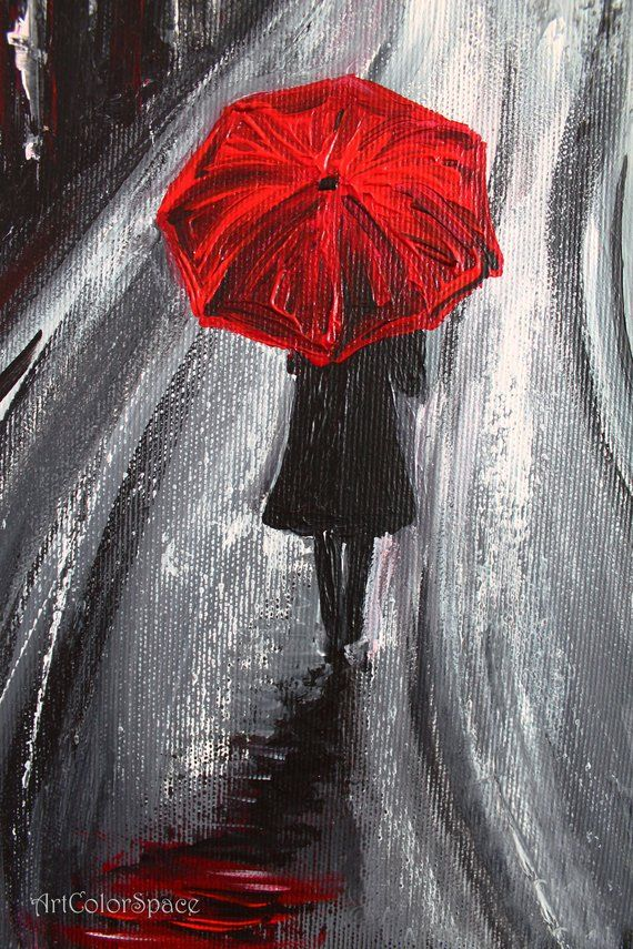 Red umbrella painting Rainy day painting Acrylic painting on canvas London wall art