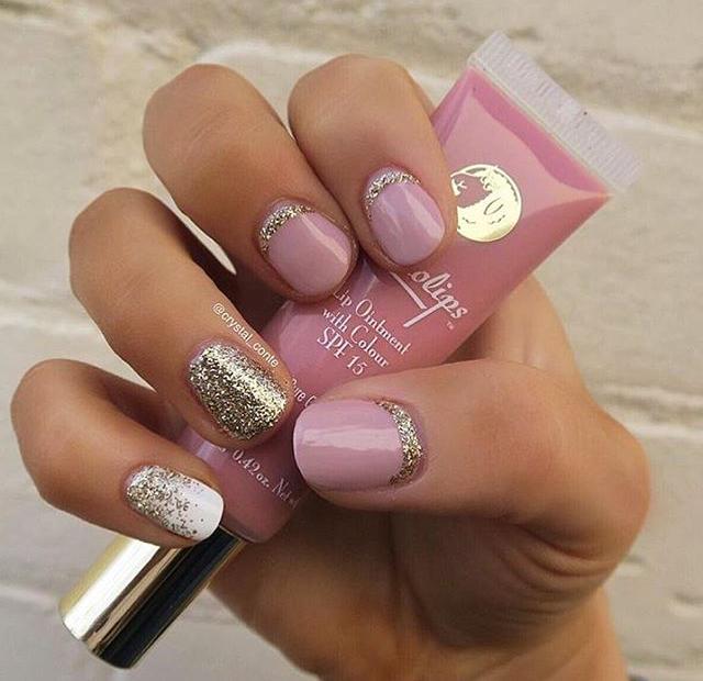 Blush Pink Silver White Accent Design Nails Pinterest Nail