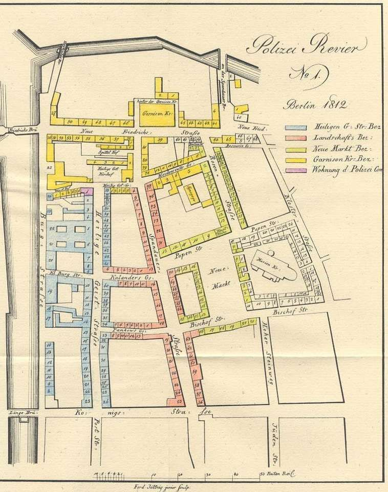 1812 Karte des ehemaligen Polizeirevier Nr.1 -  Nach dieser Karte graben die Archäologen meiner Meinung gerade auf der Höhe der Häuser Neuer Markt Nr.1 bis Nr.3 .