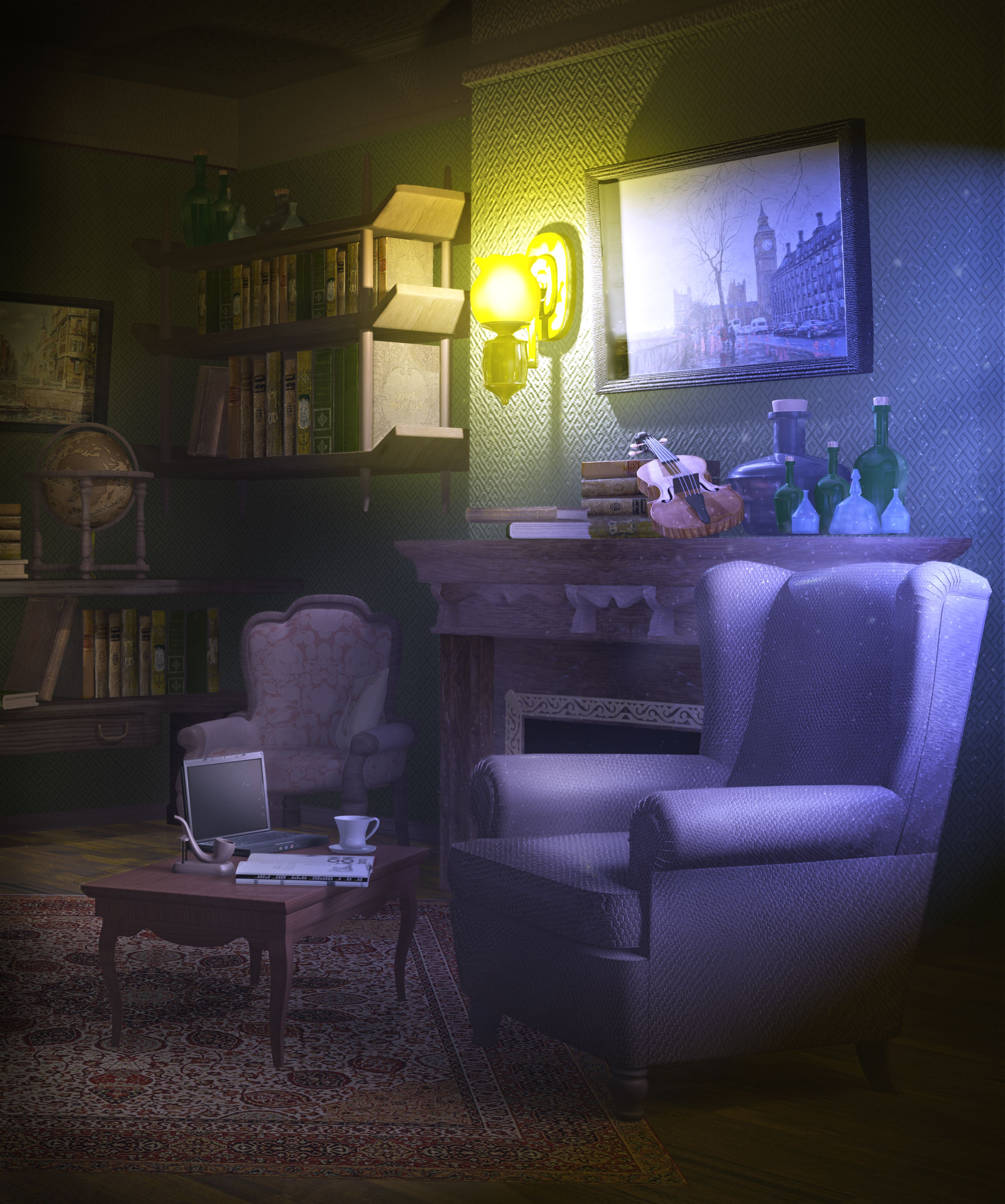 Living Room Background Animated: Room By FadeOut_maya,photoshop