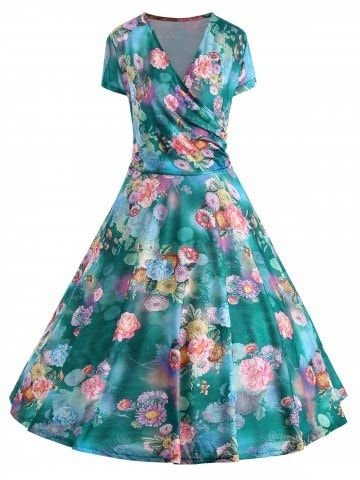 Floral Print Plus Size Pin Up Dress Fashion Sites Dress Online