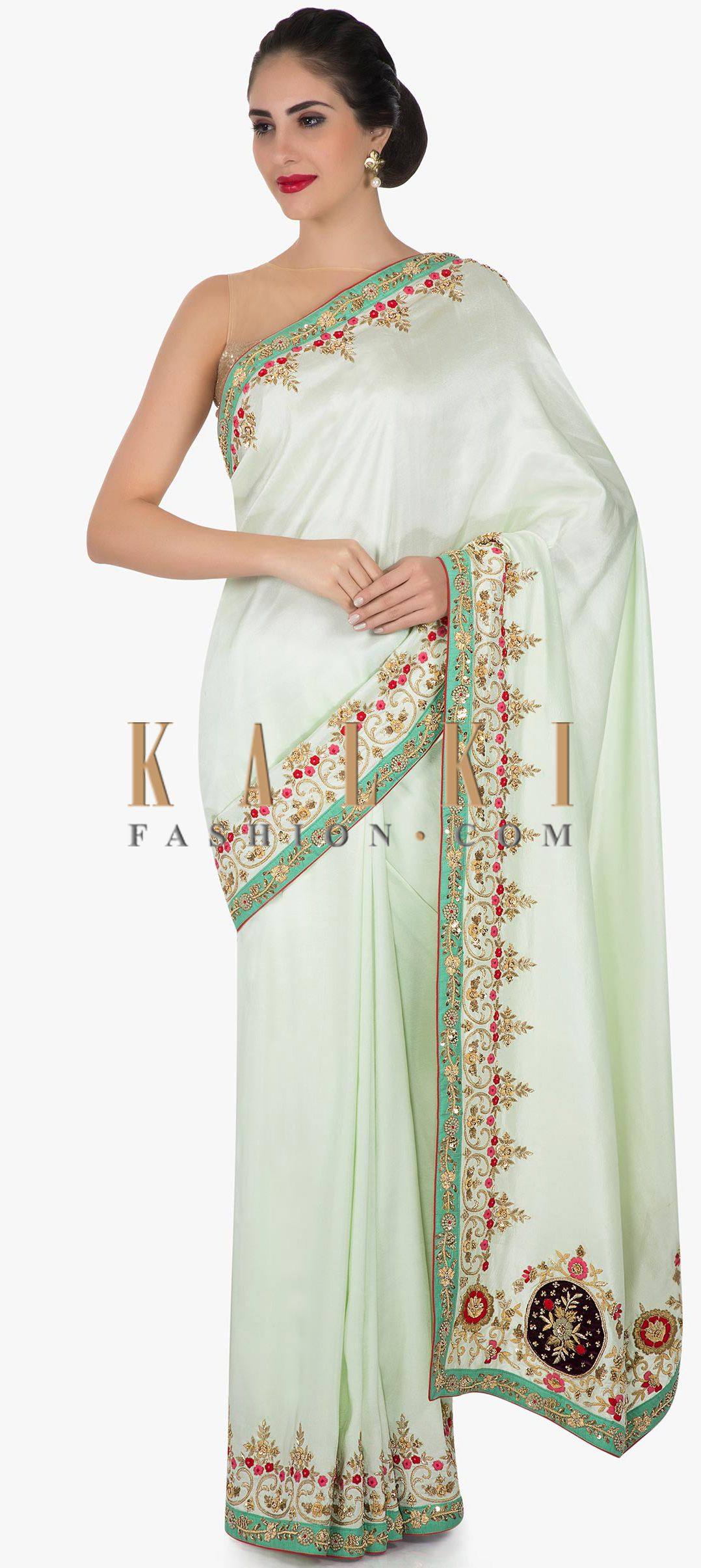 Mint Green Saree In Cotton Silk With Velvet Patch Work And