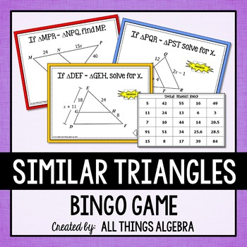 Similar Triangles Bingo Gamethis Is A Powerpoint Game That Can Be Used With A Smart Board Or Ju Similar Triangles High School Math Lessons Geometry Activities Similar triangles worksheets with