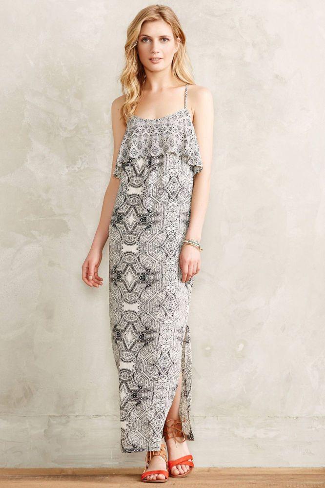 c39a57dfc20b Vanessa Virginia Anthropologie Black White Beaded Boho Maxi Dress Size 16  1005