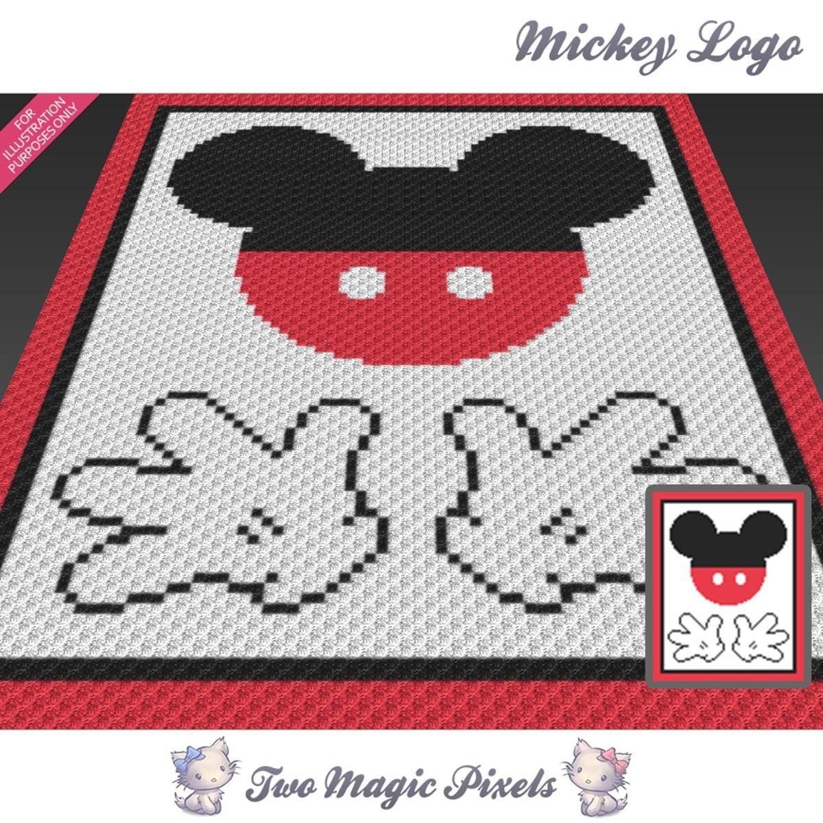 Mickey Logo Graph C2C Crochet Graph | Manta, Mantas tejidas y Cobija