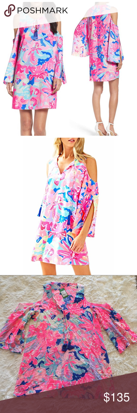 bf6aaf9b212 Lilly Pulitzer Benicia Pink Cold Shoulder Dress NWT Lilly Pulitzer Benicia  tunic cold shoulder dress in