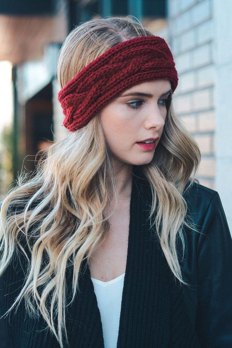Chunky Knit Headband Burgundy  Knitted headband Winter wardrobe