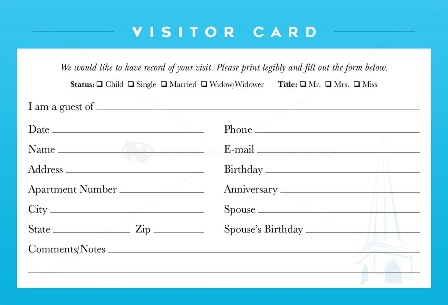 Guest Card Template Horizonconsulting Co In Church Visitor Card Template Word Free Business Card Templates Business Plan Template Card Template