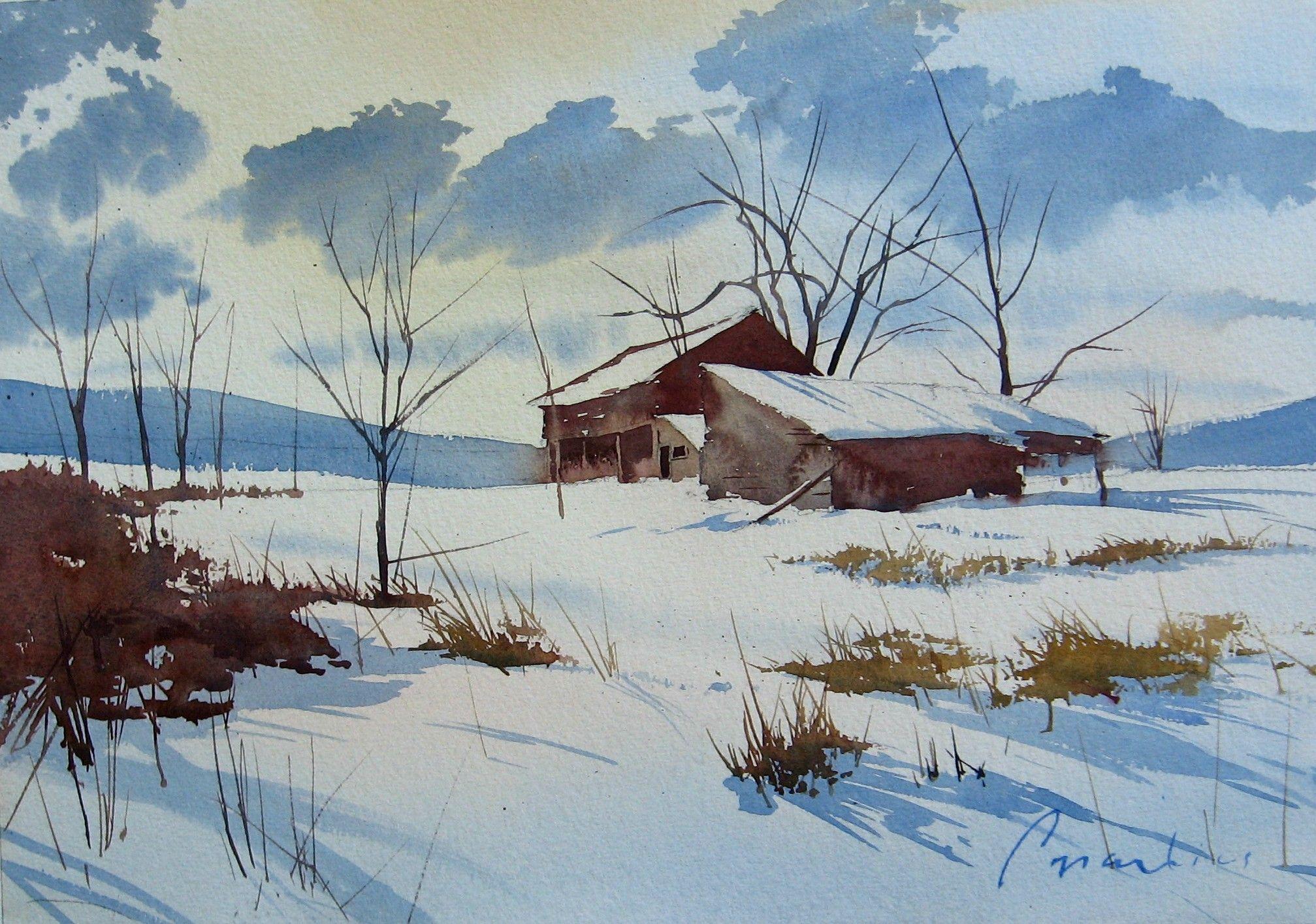 Vernon Barn- An Original Watercolor By Joel Popadics