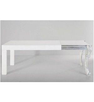 Table repas Kare Design blanc laqué avec pied baroque argent