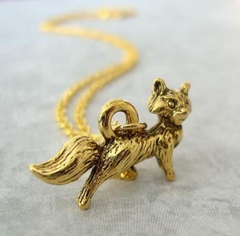 Tiny Golden Fox Charm Necklace - everyday jewelry - gift for her under 15 dollars #Glimpse_by_TheFind