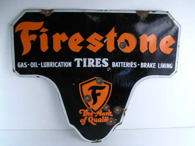 vintage old rare antique Firestone tires advertising sign with the gas,oil,lubrication,batteries brake lining