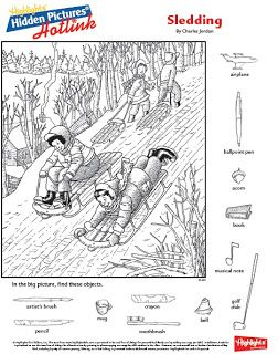 Sledding Hidden Picture Library Printables Highlights Hidden