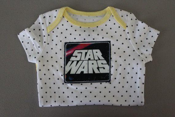 Star Wars Onesie Geek babyBlack Poka Dot on White by thebleuviolet, $14.00