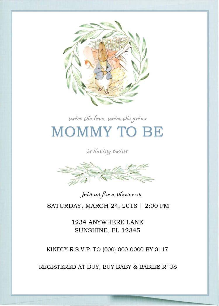 Peter Rabbit Baby Shower Invitation Blank Stationery Printable