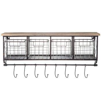 Wall Shelf With Metal Baskets Hooks Hobby Lobby 263558 In 2020 Metal Baskets Wall Shelf With Baskets Basket Shelves