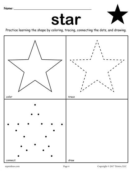 Star Shape Worksheet Color Trace Connect Draw With Images